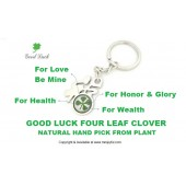 Good Luck Four Leaf Clover  Fu Keychain
