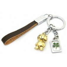 Keychain Gold Bear Leather